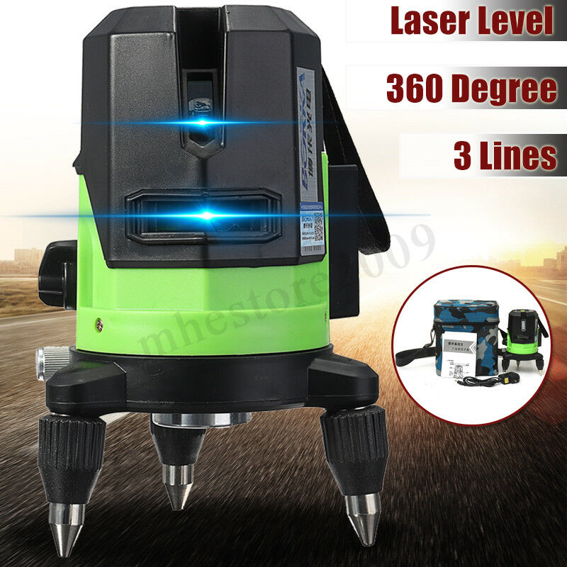 Laser Level 3 Line bluee Self-Leveling Outdoor 360° redary Cross Measure Tool