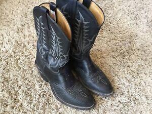 TONY LAMA Black Saddle Bullhide Leather Western Cowboy Boots 10.5? Wide
