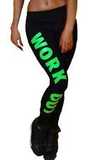 WorkOut Damen Leggings Sporthose Zumba Yoga -XS-S-M 34-36-38 Schwarz-Grün -Fit