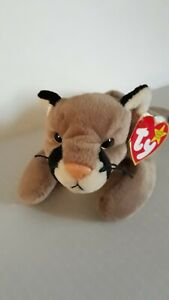 """Ty Beanie Baby Retired 1998 """"Canyon"""" The Cougar With Yellow Jeweled Eyes"""