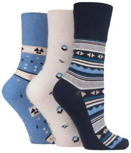 3 Pairs Ladies Navy Blue Cream Patterned Cotton Gentle Grip Socks, Size 4-8