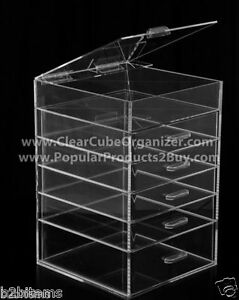 DS-Acrylic-Lucite-Clear-Cube-Makeup-Organizer-The-Kardashians-Display-5-plus-lid