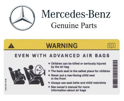 Genuine For Mercedes Benz Sun Visor Air Bag Warning Sticker Label Decal OEM