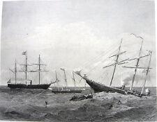 US Civil War Battle of Boat Ships KEARSARGE & ALABAMA ~ 1875 Art Print Engraving