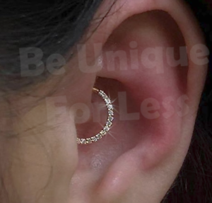 Details About Continuous Crystal Surgical Ring Helix Cartilage Tragus Piercing Hoop