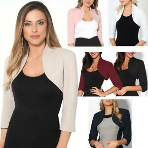 Womens-Tailored-Bolero-Shrug-Cropped-Top-Short-Sleeve-Party-Blazer-Jacket-Coat
