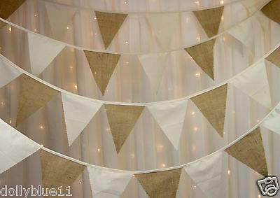 Bunting vintage style lace natural cotton calico various lengths weddings party