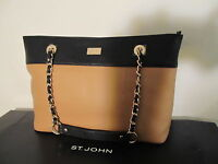 St John Knit Tote Bag Black Brown Biscuit Gold Logo Leather Purse Large