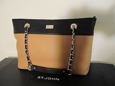 NEW ST JOHN KNIT TOTE BAG BLACK BROWN BISCUIT GOLD LOGO LEATHER PURSE LARGE