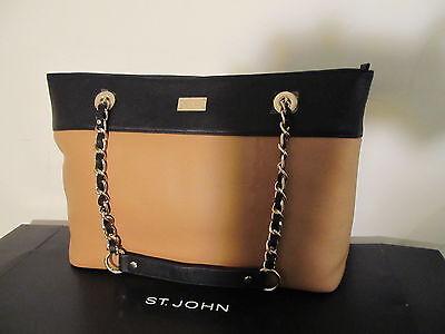 NWT St John knit handbag black & tan tote leather