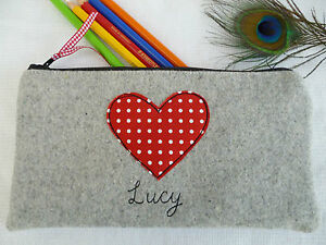 Handmade-Personalised-Heart-Pencil-Case-choice-of-wording-Red-polka-dot-amp-Grey