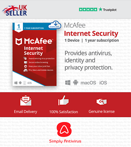 McAfee Internet Security Antivirus 2021, 1 Device, 1 Year - 5 Min Email Delivery