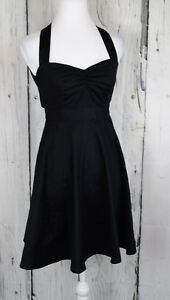 Moda-International-By-Victoria-039-s-Secret-Halter-Dress-Flare-Sleeveless-Black-Sz-2
