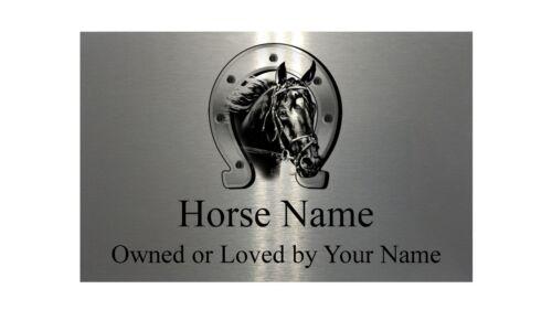 Nome Personalizzato Cavallo Pony Argento Alluminio Metallo Segno Porta Della Stalla PLACCA