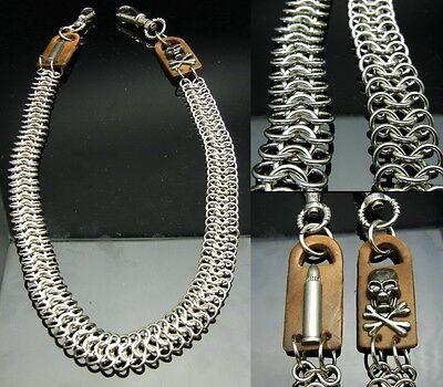 TDB159 - Bullet Skull Jeans Wallet Key Silvertone Mesh Metal Chain Biker HipHop