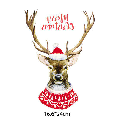 Christmas Deer Sticker Patch Iron On Clothes Patches Heat Transfers Clothing Bag Ebay
