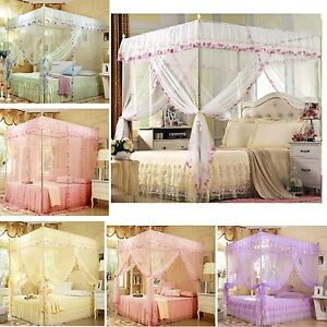 4 corners poster canopy bed curtain mosquito net for single queen king ebay - Four poster bed curtains ...