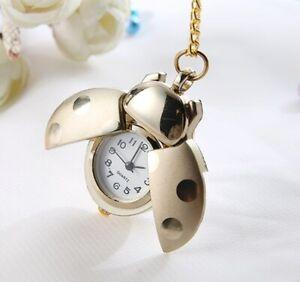 Ladybug Reloj de Oro Colorido Bolsillo Cadena Reloj con Cadena Collar Ladybug