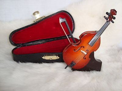 Miniature Upright Bass Only 4 Inches Long Case & Stand Great Music Gift Nib