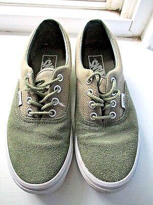 VANS Army Green Suede & Tweed SNEAKERS Women's 6.5 NEW | eBay