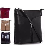 Women Genuine Italian Leather Zip Cross Body Bag Shoulder Handbag Vera Pelle