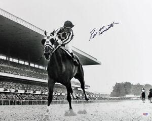 Ron-Turcotte-1973-Belmont-Stakes-Secretariat-Signed-16X20-B-amp-W-Photo-PSA-DNA