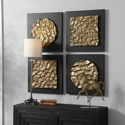 "FOUR BOAZ 20"" MODERN BOLD GEOMETRIC METAL AGED GOLD IRON ..."