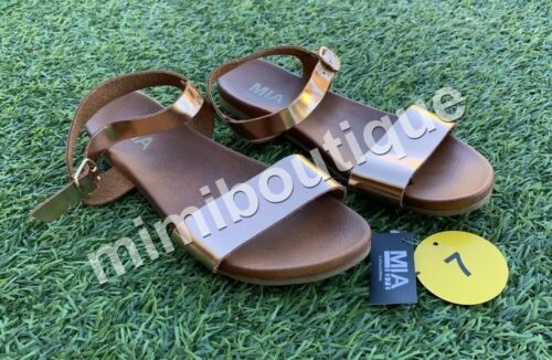 Details about  /MIA Women/'s Kerry Sandals Rose Gold Buckle Ankle Wide Straps Flats Foot Wear NEW