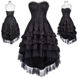 Vintage-Gothique-sans-bretelles-miel-Noble-queue-d-039-arronde-robe-noir-34-46