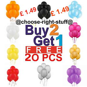 20-Latex-PLAIN-BALOON-BALLONS-helium-BALLOONS-Quality-Party-Birthday-Wedding-UK