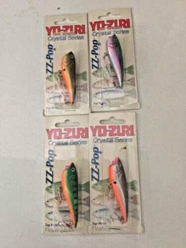 Yo Zuri Lures  ZZ POP CRYSTAL SERIES FLOATING FISH LUEW BASS TROUT 4 LOT NIB