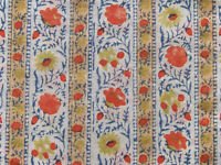 Hand Printed Cotton 2½ Yards. Historic Reproduction  Block Print India Fabric