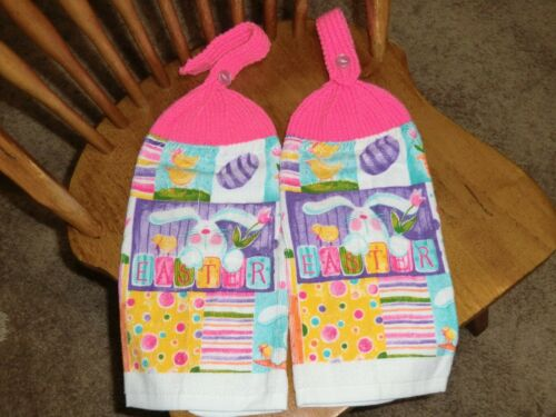 Eggs Chicks /& Flowers Knit Top Kitchen Towels Pink Top Easter Bunnies