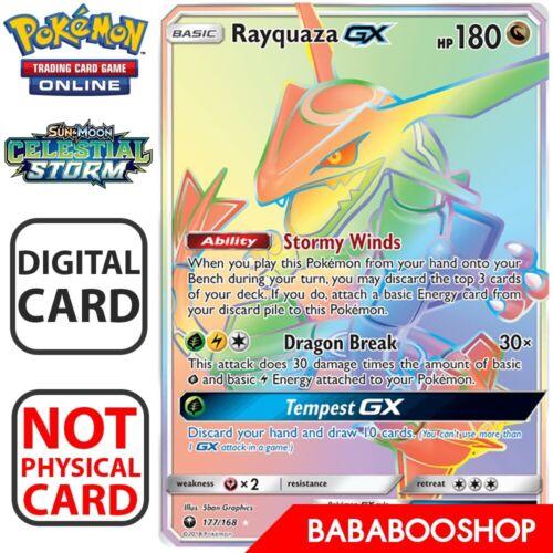 Rayquaza GX Full Art 177//168 Celestial Storm Pokemon TCG Online Digital.