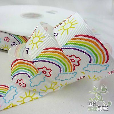 "25mm(1"") Rainbow Cartoon Grosgrain Ribbon Lot Hairbow 1 Yard Craft DIY"