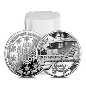 Roll of 20 - 1 oz Horse & Sleigh Silver Christmas Round .999 Silver (Lot, Tube