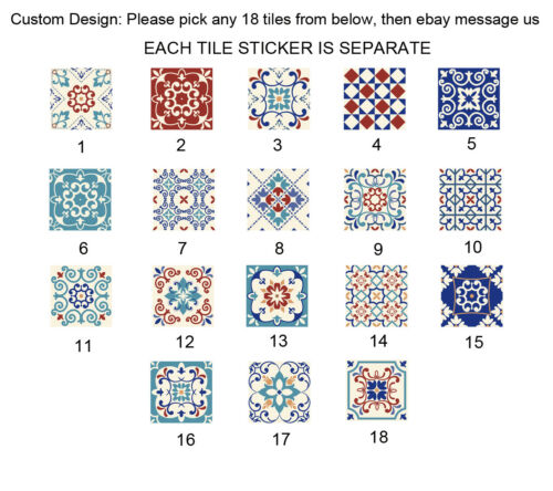 Pack of 18 Tile Pattern Stickers Wall Kitchen Bathroom Floor Decor Vinyl Decal