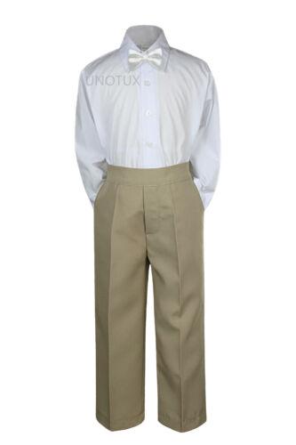 Baby Toddler Kid Boys Wedding Formal 3pc Set Shirt Khaki Pants Bow Tie Suit S-7
