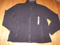 Mens Free Country Microtech Fleece Jacket Coat Zip Up Black L Large
