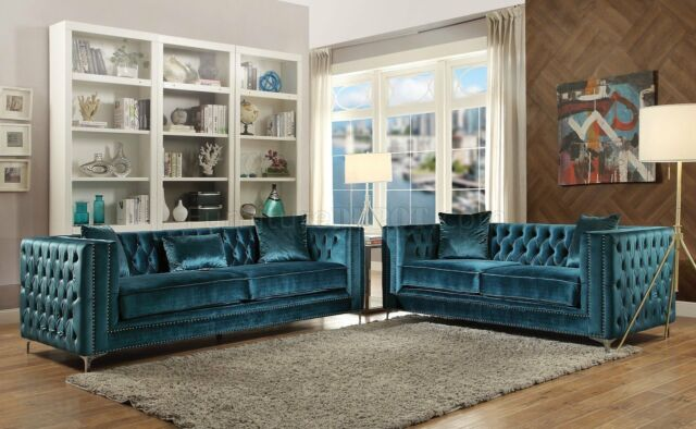 Enjoyable Acme Gillian Dark Teal Velvet Sofa And Loveseat Nailhead Trim Furniture 52790 Gmtry Best Dining Table And Chair Ideas Images Gmtryco
