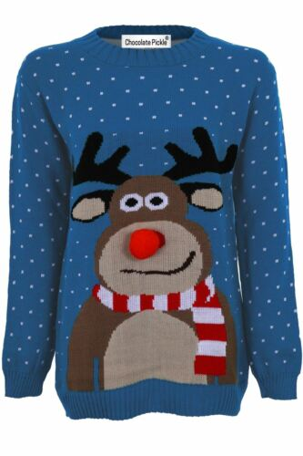 Unisex Ladies Mens Rudolph Reindeer 3d Nose Snow Flakes Christmas Jumpers 8-30