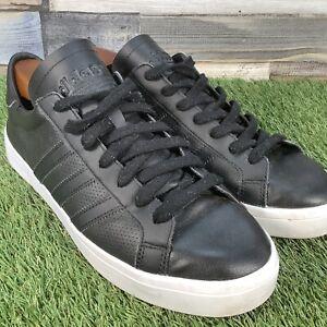 UK9-Adidas-Court-Vantage-Black-Leather-Low-Top-Trainers-BZ0442-Retro-EU43