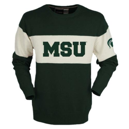 Neuf Licence Michigan State Spartans Hommes Rétro Ras Pull TAILLE S __S101