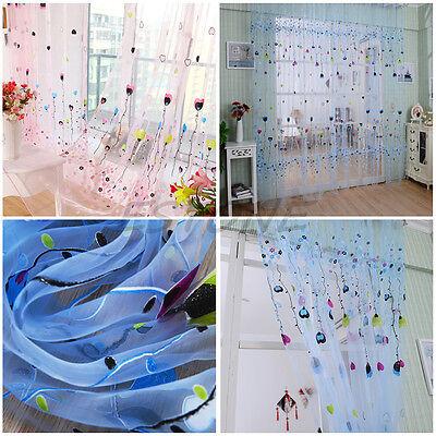 2 Color Balloon Tulle Voile Door Window Curtain Drape Panel Sheer Scarf Valances