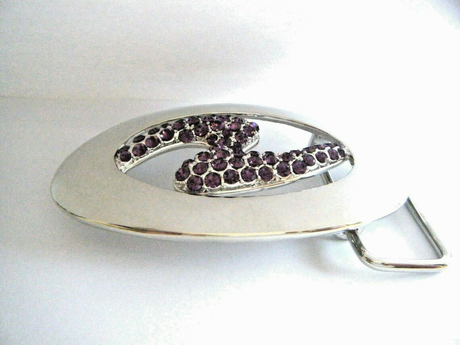 Oval Silver Tone Metal Belt Buckle Contemporary Style Purple Stones New