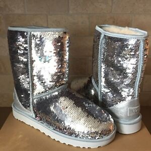 b77eac5df9e Details about UGG Classic Short Silver Sparkles Sequin Sheepskin Boots Size  US 8 Womens