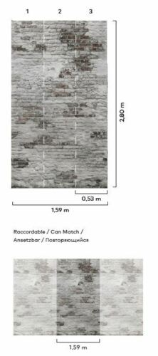 Nappes Papier Peint Brique rupture Pierre Digital Pression 1,59mx2 80 m loft ep6102