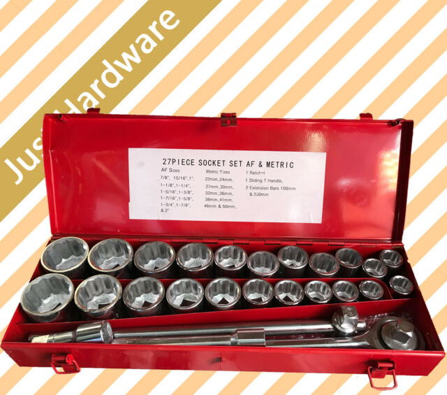 "27 Pc Pcs 3/4"" DRIVE SOCKET WRENCH SET HEAVY DUTY METRIC & SAE"