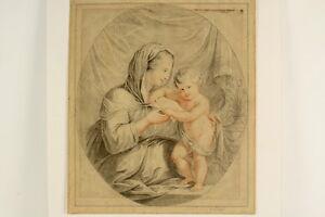 Art Kohle Und Rötelzeichnung Oval Mutter Mit Kind Antik Dekorativ Zeichnung Um 1820 Moderate Cost