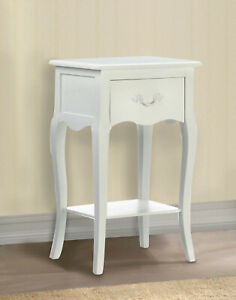 Details About French Country White Side End Bedside Table Shabby Night Stand Drawer Shelf